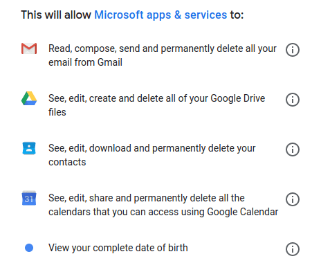 Overly permissive request from Microsoft